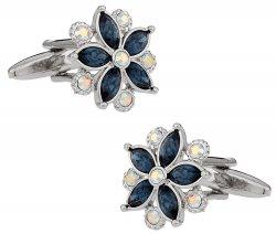 Swarovski Crystal Flower Cufflinks Blue