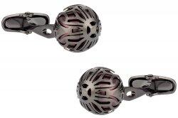 Swarovski Gunmetal Caged Pearl Cufflinks in Burgundy
