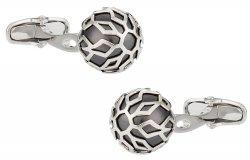 Swarovski Silver Caged Pearl Cufflinks in Black