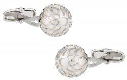 Swarovski Silver Caged Pearl Cufflinks in White
