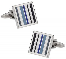 Tonal Blue Lined Cufflinks
