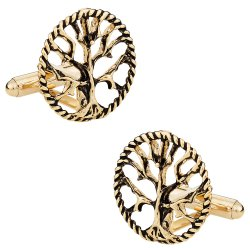 Tree of Life Cufflinks in Gold