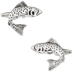 Trout Fish Cufflinks for Fisherman with Gift Box