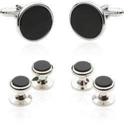 Tuxedo Cufflinks and Studs - Black Onyx with Silver Tone