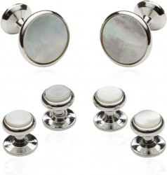 Men's Cufflinks and Studs with Mother of Pearl & Silver