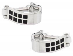 Wrap Around Cufflinks - Silver Black