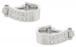 Wrap Around Cufflinks - Silver Crystal