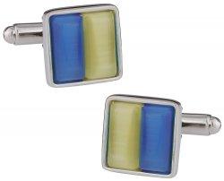 Yellow & Blue Glass Cufflinks