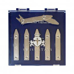 3 Pairs Adjustable Stainless Steel Collar Stays