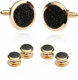 Men's Black Diamond Dust Gold Cufflinks and Studs