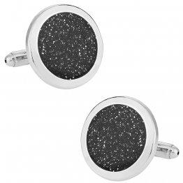 Black Diamond Dust Silver Cufflinks