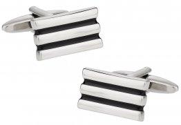 Black Silvertone Lined Cufflinks