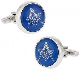 Blue Masonic Freemason Round Cufflinks