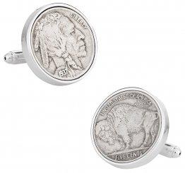 Buffalo Nickel Coin Cufflinks - Sterling Silver Plate