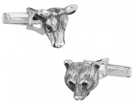 Bull Bear Sterling Silver Head Cufflinks