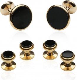 Classic Cufflink Stud Set in Black Gold for Men