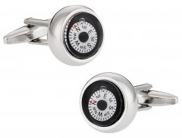 Compass Cufflinks in White