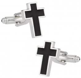 Cross Cufflinks in Black