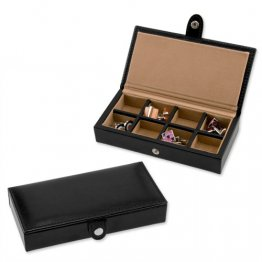 Cufflinks Rings Storage Box in Black Leather - holds 8 Pairs - Perfect for Travel