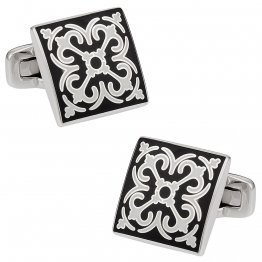 Elegant Black & White Cufflinks