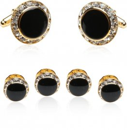 Black, Gold, and Crystal Round Formal Set of Cufflinks and Studs