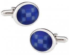 Fiber Optic Blue Cufflinks