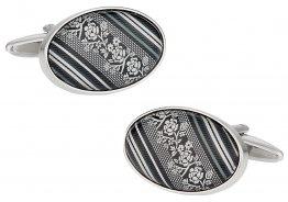 Floral Cufflinks in Black Gray