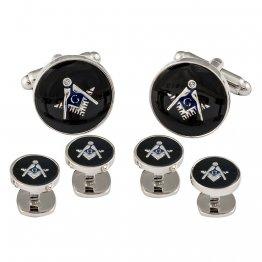 Freemason Masonic Cufflinks Studs Silver Black