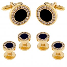 Men's Black Onyx and Cubic Zirconia Cufflinks Studs Gold Tuxedo Formal Set with Gift Box