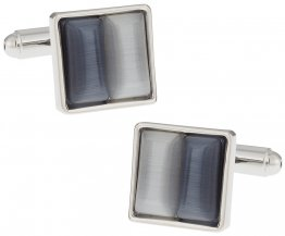 Gray & Silver Fiber Optic Cufflinks