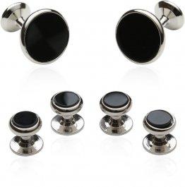 Mens' Wedding Cufflinks & Studs in Black Onyx & Silver
