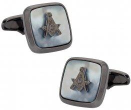 Gunmetal Mother of Pearl Masonic Cufflinks