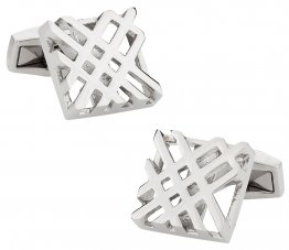Designer Hollow Check Silver Cufflinks