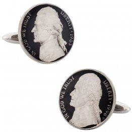 Hand Painted Jefferson Nickel Coin Cufflinks