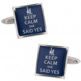 Keep Calm She Said Yes Funny Cufflinks