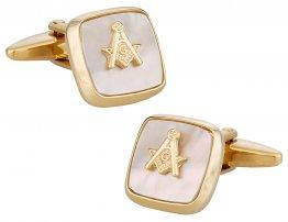 Masonic Compass Cufflinks Gold Mother of Pearl