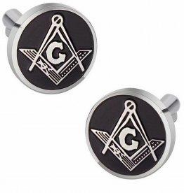 Masonic Freemason Cufflinks Compass Black Enamel Round