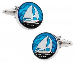 Nautical Blue Enamel Sailboat Cufflinks