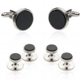 Onyx Silver Tuxedo Cufflinks & Studs for Men