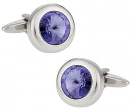 Purple Solitaire Crystal Cufflinks