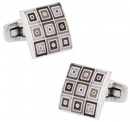 Quilted Cufflinks in Gray