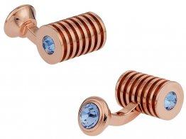 Rose Gold Light Sapphire Swarovski Double Cufflinks
