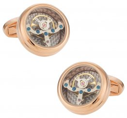 Rose Gold Silver Working Tourbillon Carbon Fiber Watch Cufflinks Steampunk