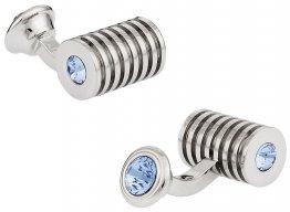 Silver Light Sapphire Swarovski Double Cufflinks
