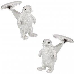Silver Penguin Cufflinks with Swarovski Eyes