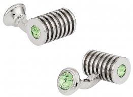 Silver Peridot Swarovski Double Cufflinks