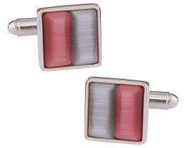 Silver & Pink Glass Cufflinks