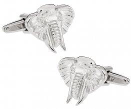 Silvertone Elephant Head Cufflinks