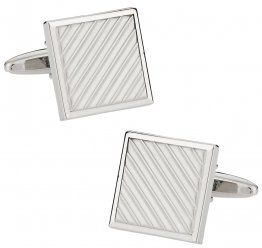 Silvertone Striped Cufflinks