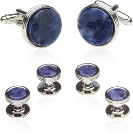Blue Sodalite Formal Set of Cufflinks and Studs